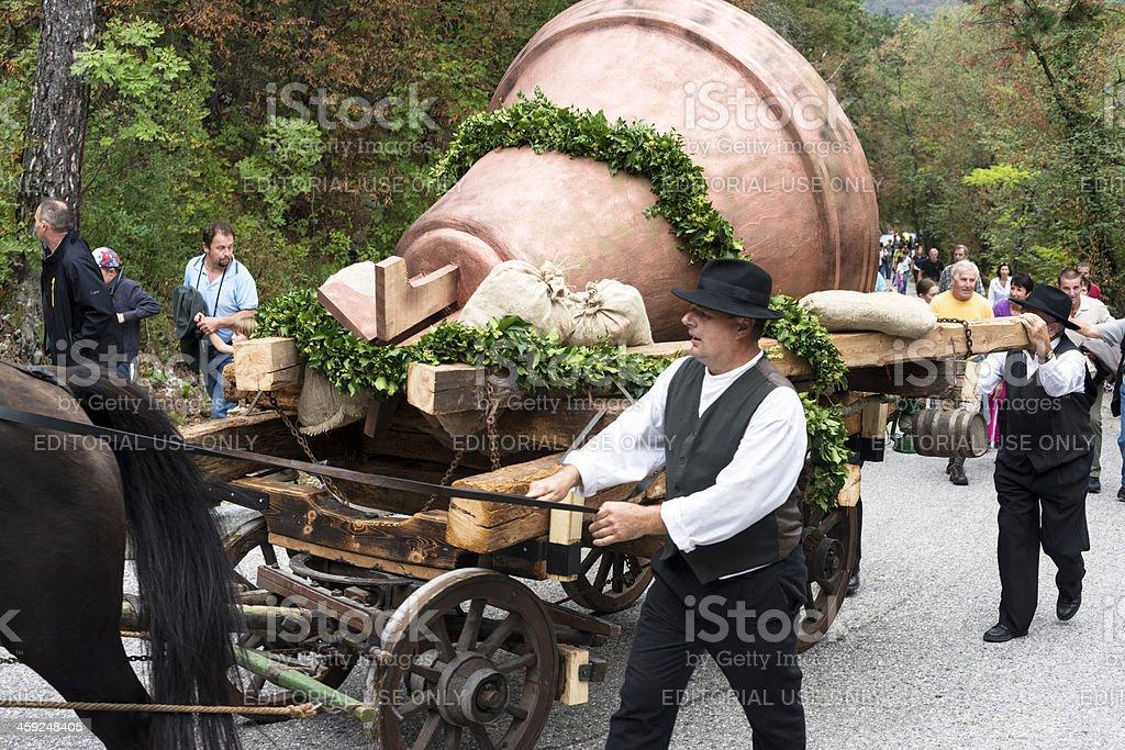 Old Cart with Bell Going to Sveta Gora Slovenia Europe stock photo