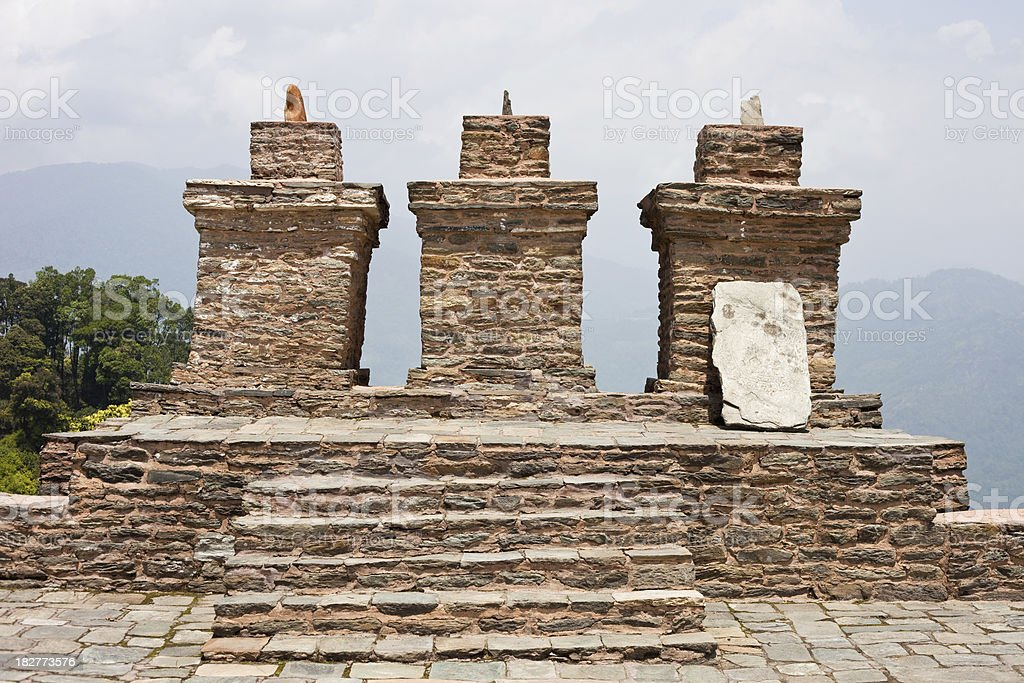 Old Carved Stone At Rabdantse Ruins In Pelling, Sikkim, India stock photo
