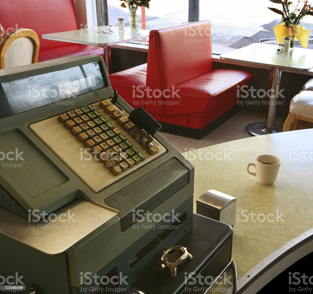 old cash register in coffee shop stock photo