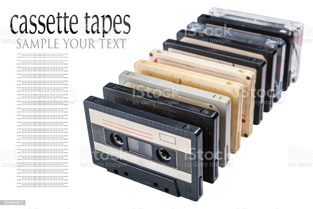 Old Cassette tapes isolated stock photo