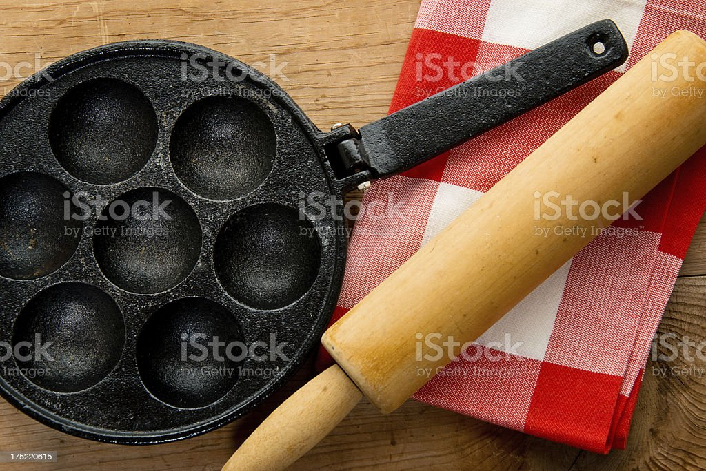 Old Cast Iron Frying Pan, Skillets, Egg Poacher royalty-free stock photo