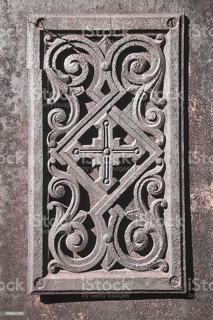 Old cast iron  plate in the chapel. royalty-free stock photo