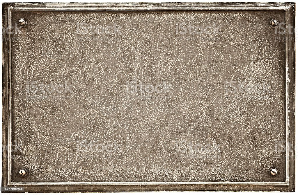 Old cast-iron plaque on white stock photo