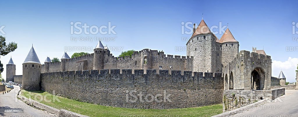 Old castle of Carcassonne, France stock photo