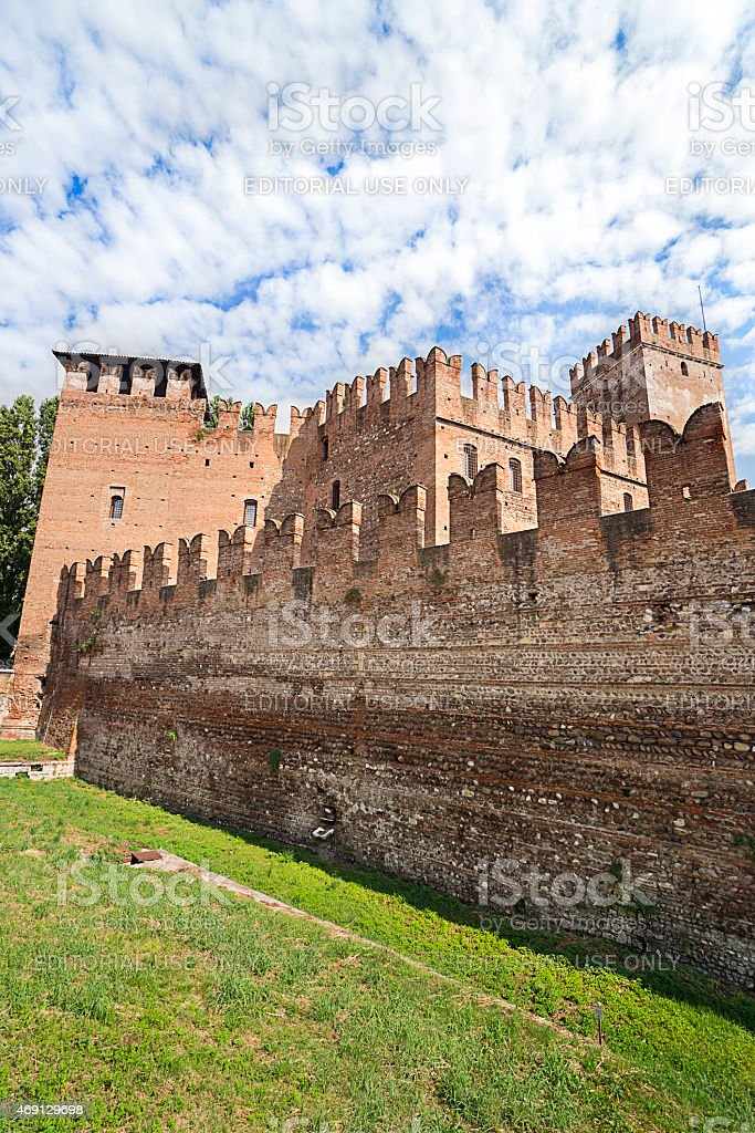 Old castle walls in Verona stock photo