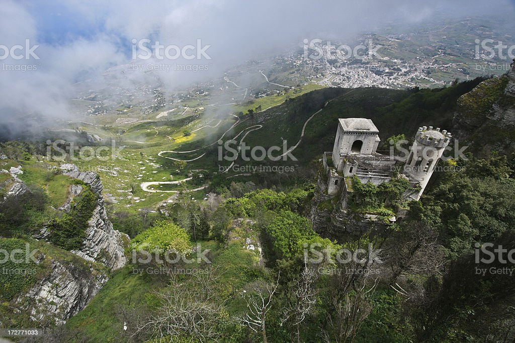 Old castle with green valley in Erice, Italy stock photo