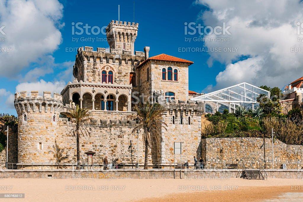 Old castle-style mansion in Estoril, Portugal. stock photo