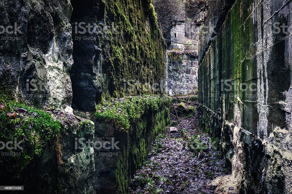 Old catacombs stock photo