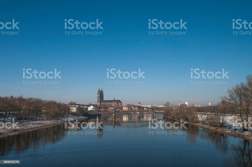 Old Cathedral and river Elba in Magdeburg, Autumn time stock photo