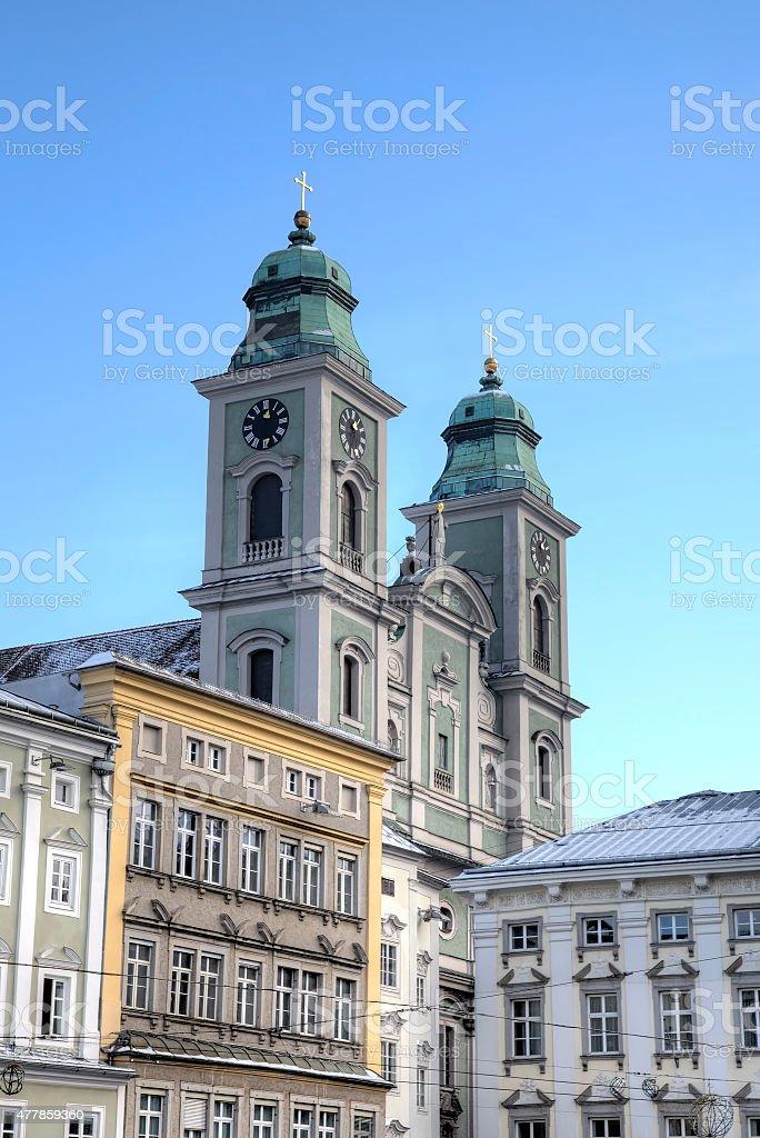 Old Cathedral (Alter Dom, Ignatiuskirche). Linz, Austria stock photo