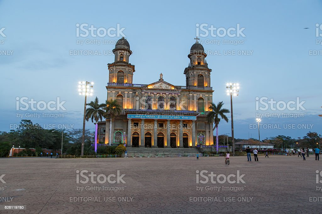 Old Cathedral ruins of Cathedral Santo Domingo Managua stock photo