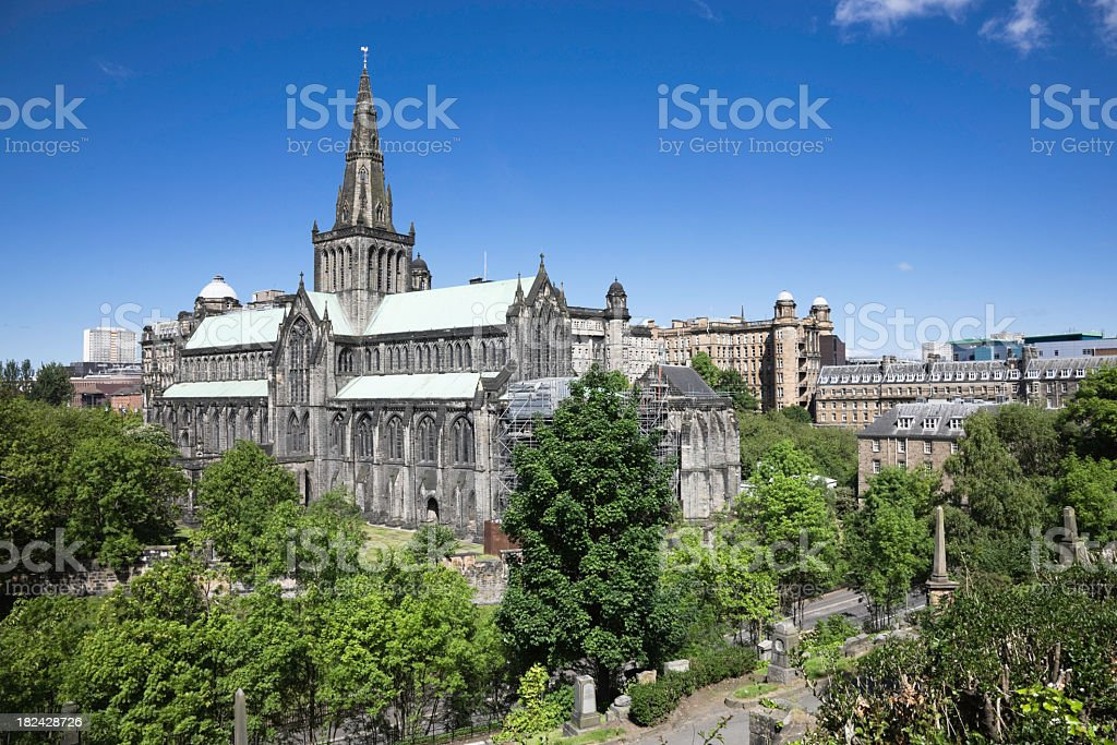 Old cathedral surrounded by trees at Glasgow stock photo