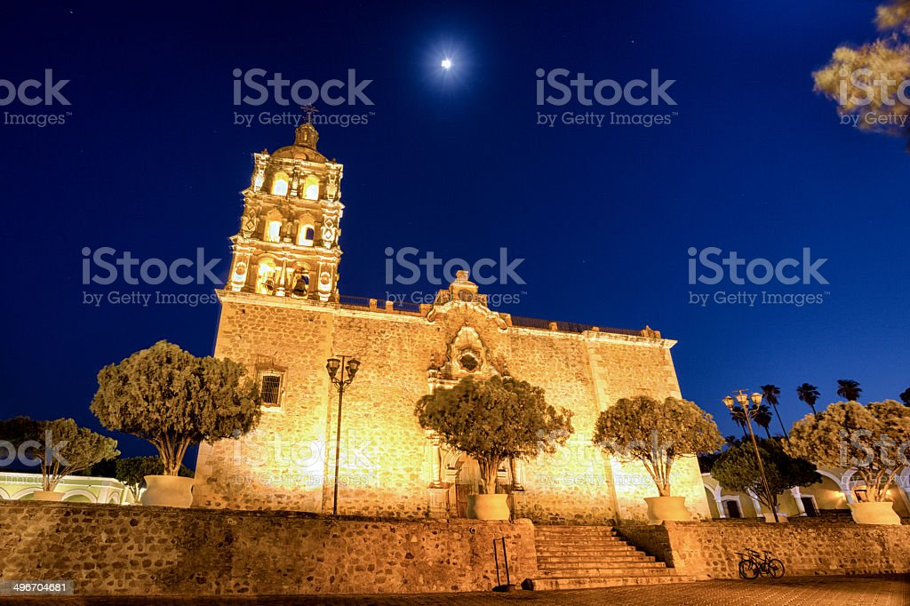 Old Catholic Church at Night stock photo