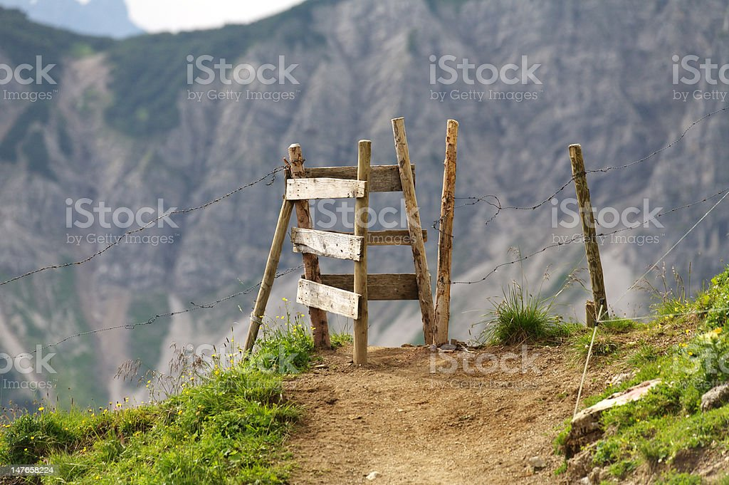 Old Cattle Fence, Food Path Gateway royalty-free stock photo