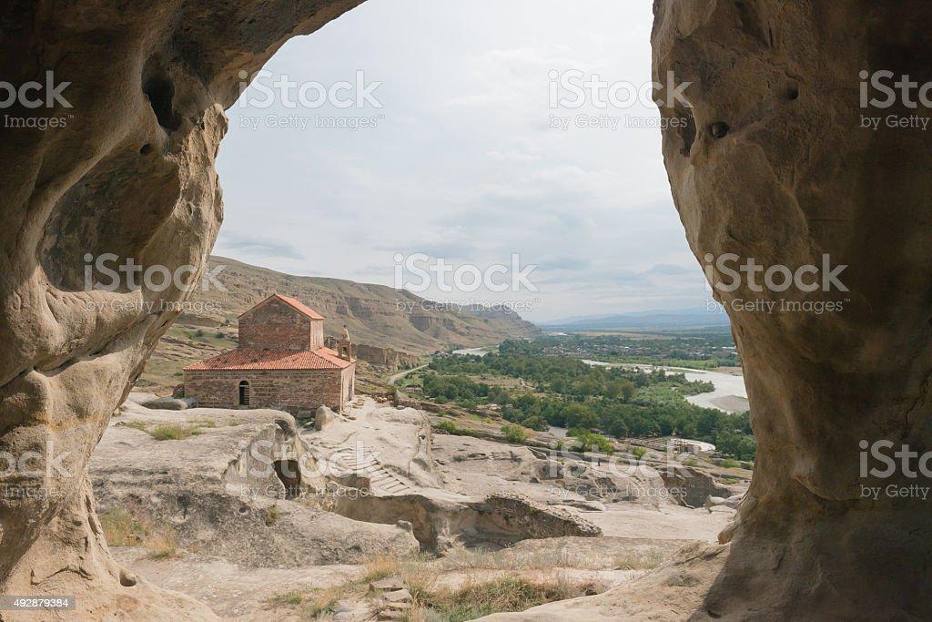Old cave city Uplistsikhe in Caucasus region, Georgia. stock photo