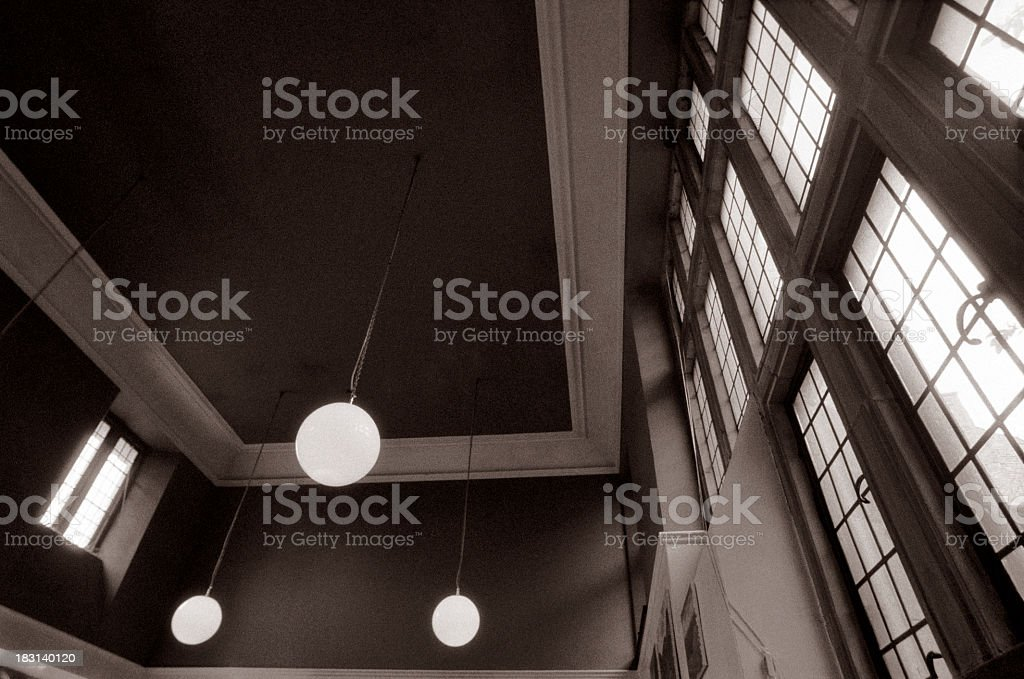 Old ceiling with spherical lights royalty-free stock photo