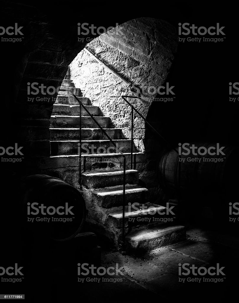 Old cellar staircase in low light stock photo