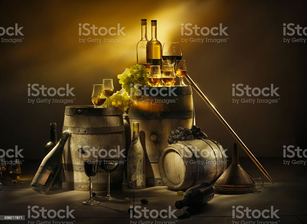 Old cellar. Wine, brandy, whiskey, calvados. stock photo