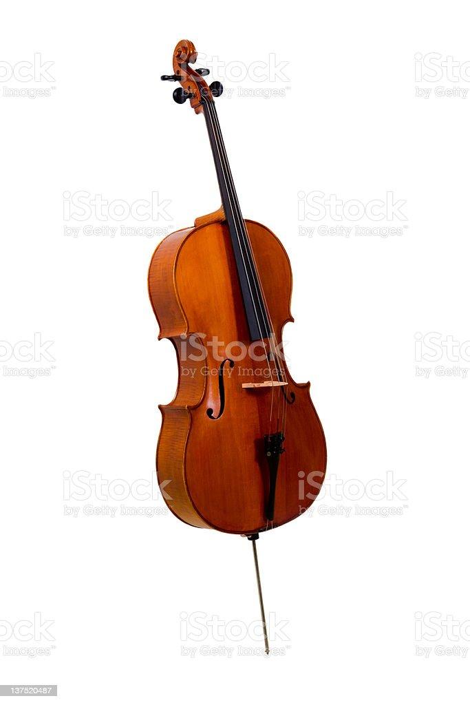 Old cello on white background stock photo