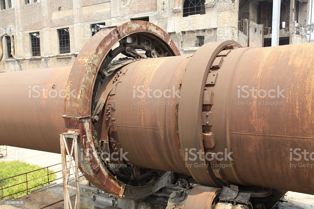 Old cement production equipment stock photo