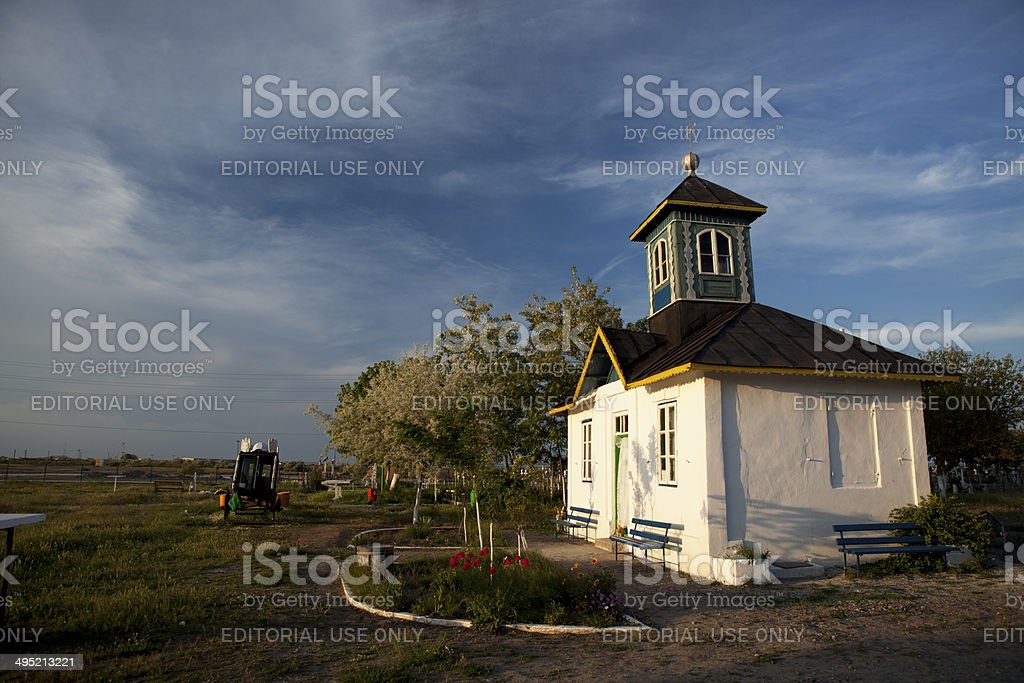 Old cemetery chapel, Danube Delta stock photo