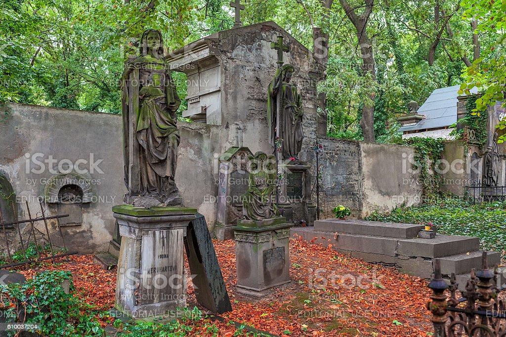 Old cemetery in Prague. stock photo