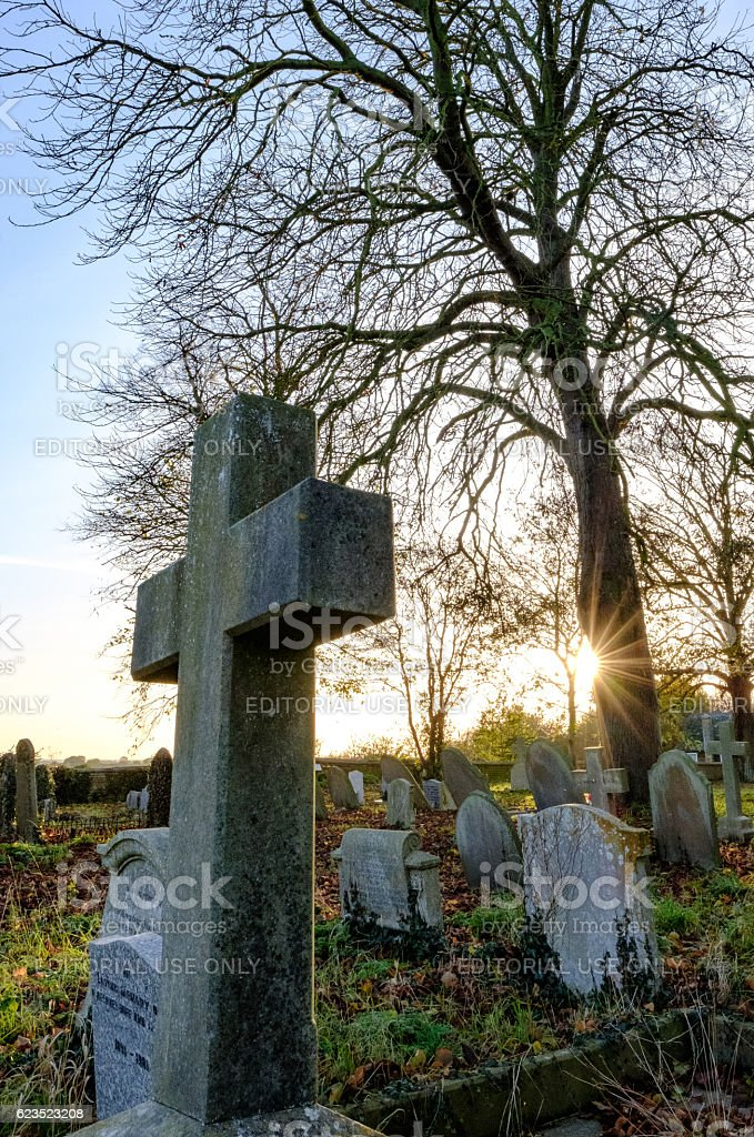 Old Cemetery Seen At Dusk In Autumn stock photo