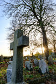 Old Cemetery Seen At Dusk In Autumn