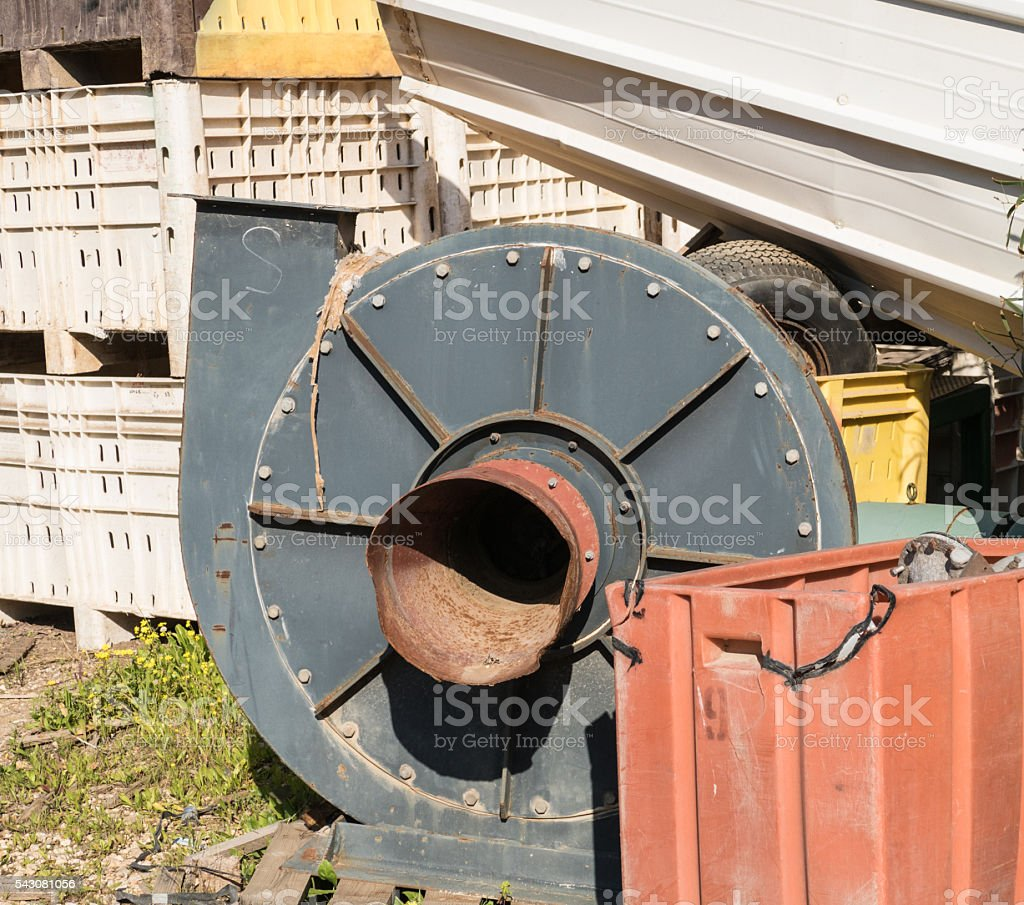 Old centrifugal dust fan. stock photo