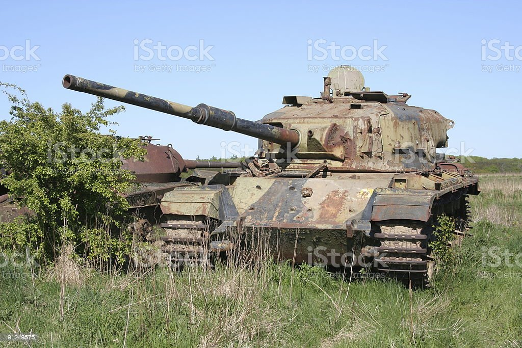 Old Centurion and M24 Chaffee tanks rust away royalty-free stock photo