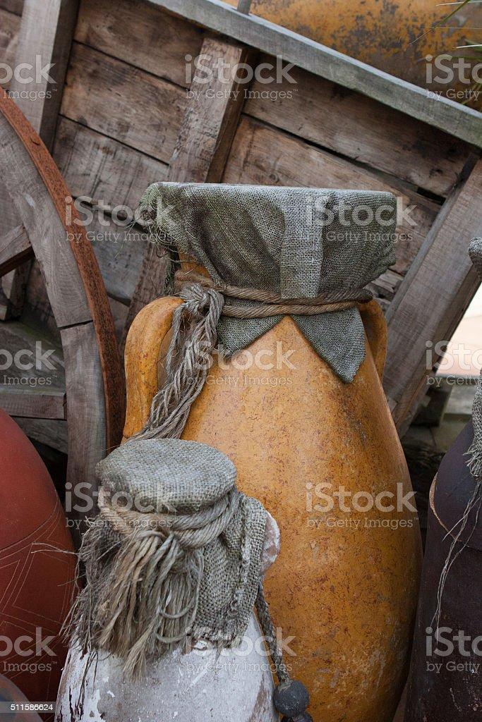 Old ceramic jars stock photo