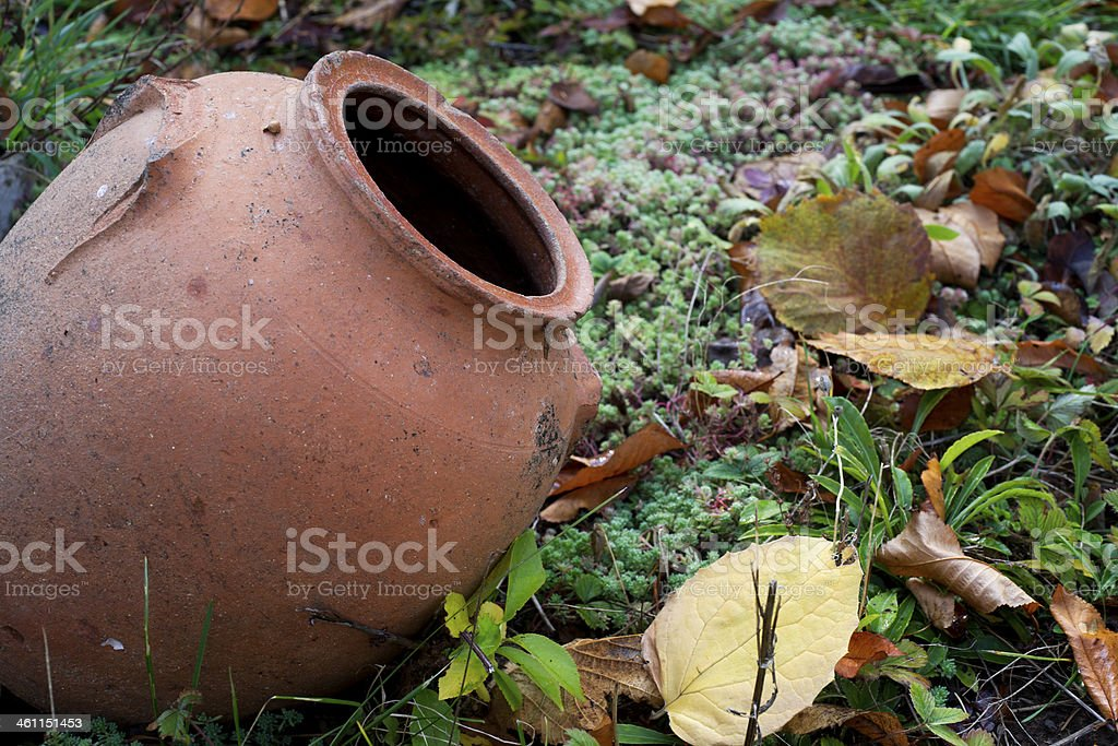 Old ceramic pot in the garden stock photo