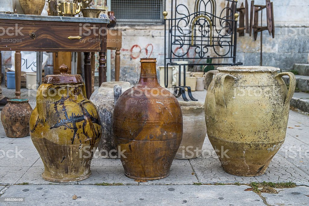Old ceramic pots royalty-free stock photo