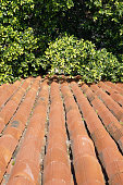 old ceramic roof tiles as a background