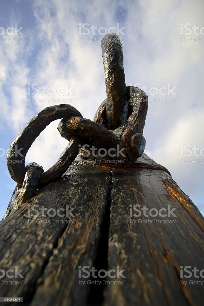 Old Chain and Plank stock photo