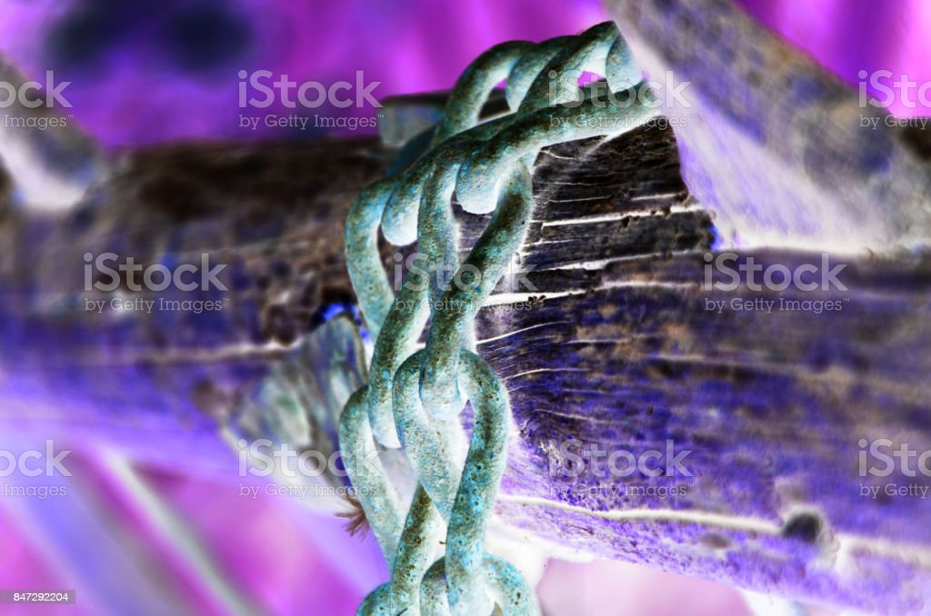 old chain close up view stock photo