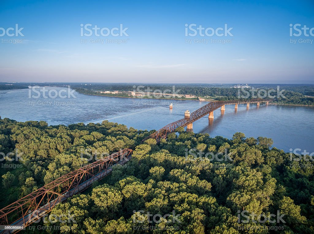 Old Chain of Rocks Bridge stock photo