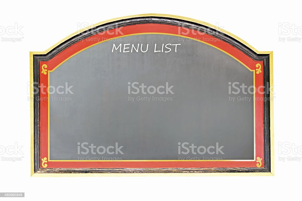 Old chalkboard to display the list of menu stock photo