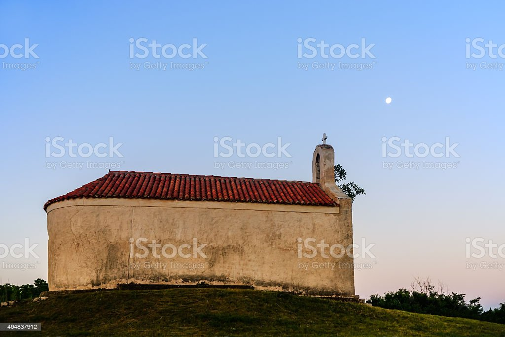 Old chapel in Croatia in the morning stock photo