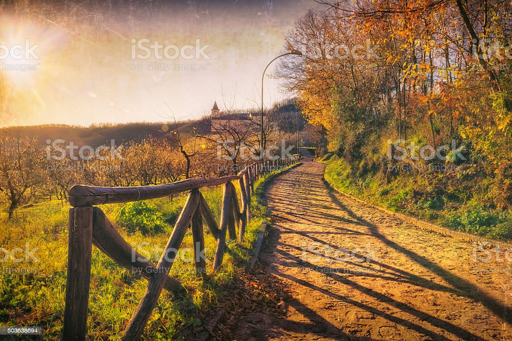 Old chapel in the Italian countryside stock photo
