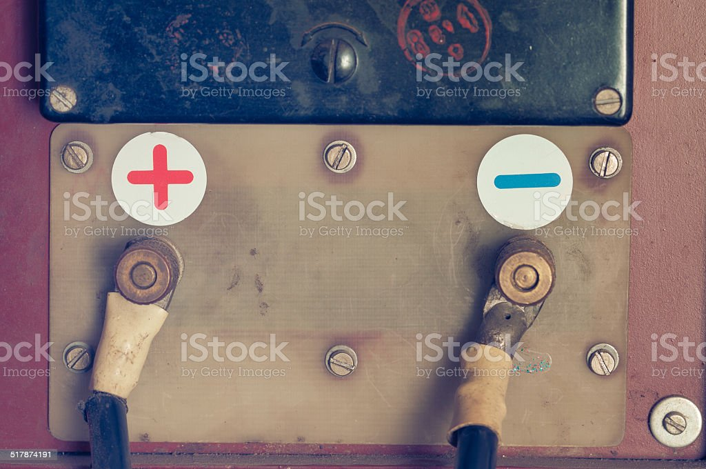 Old charger for car battery stock photo