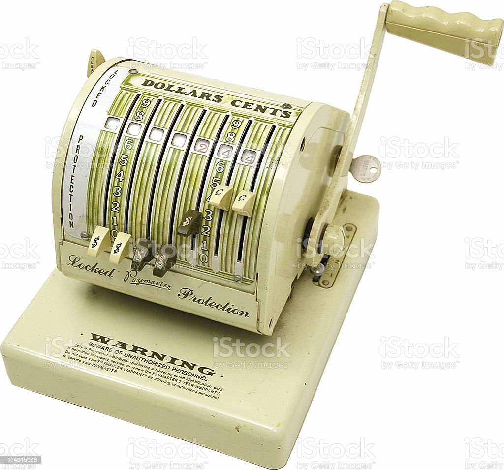 Old Check Writing Machine (Outlined) royalty-free stock photo