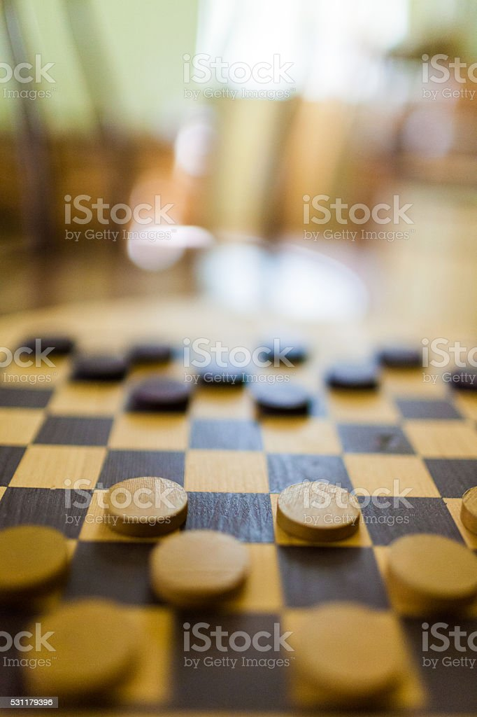 Old checkers game stock photo
