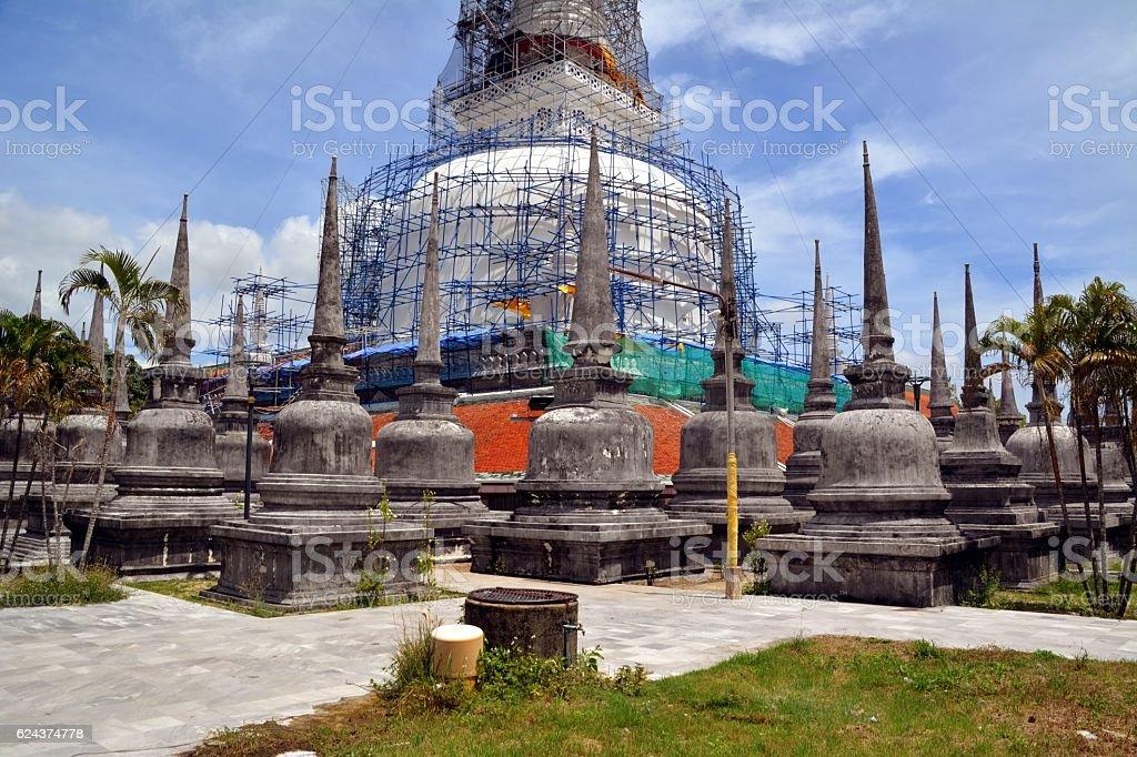 Old chedi, Wat Phra Mahathat in Nakhon Si Thammarat, Thailand stock photo