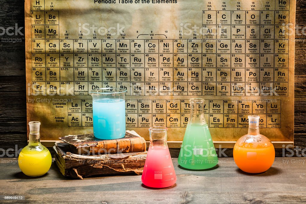 Old chemical lab with periodic table of elements stock photo