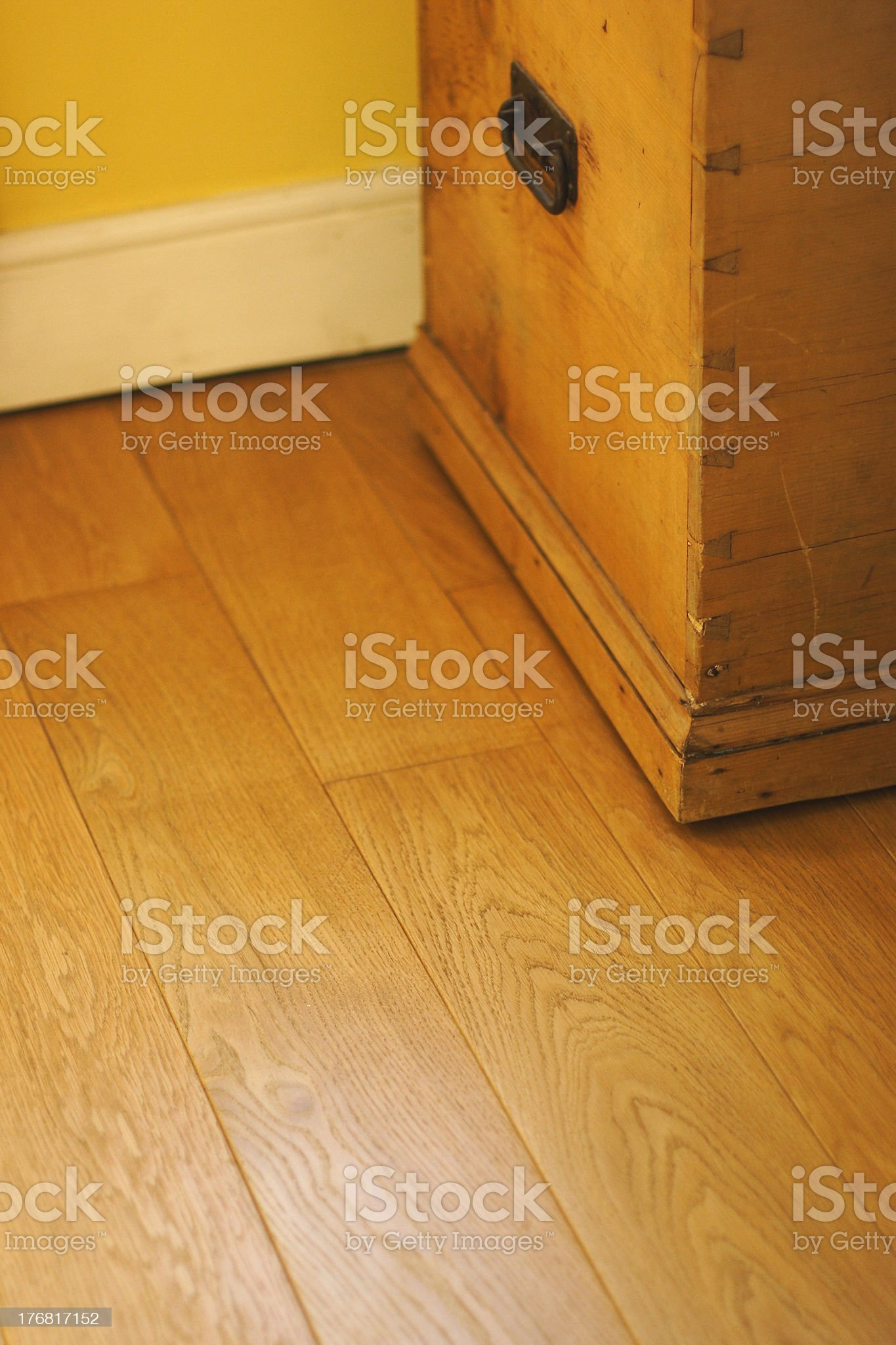 old chest and wooden floor royalty-free stock photo