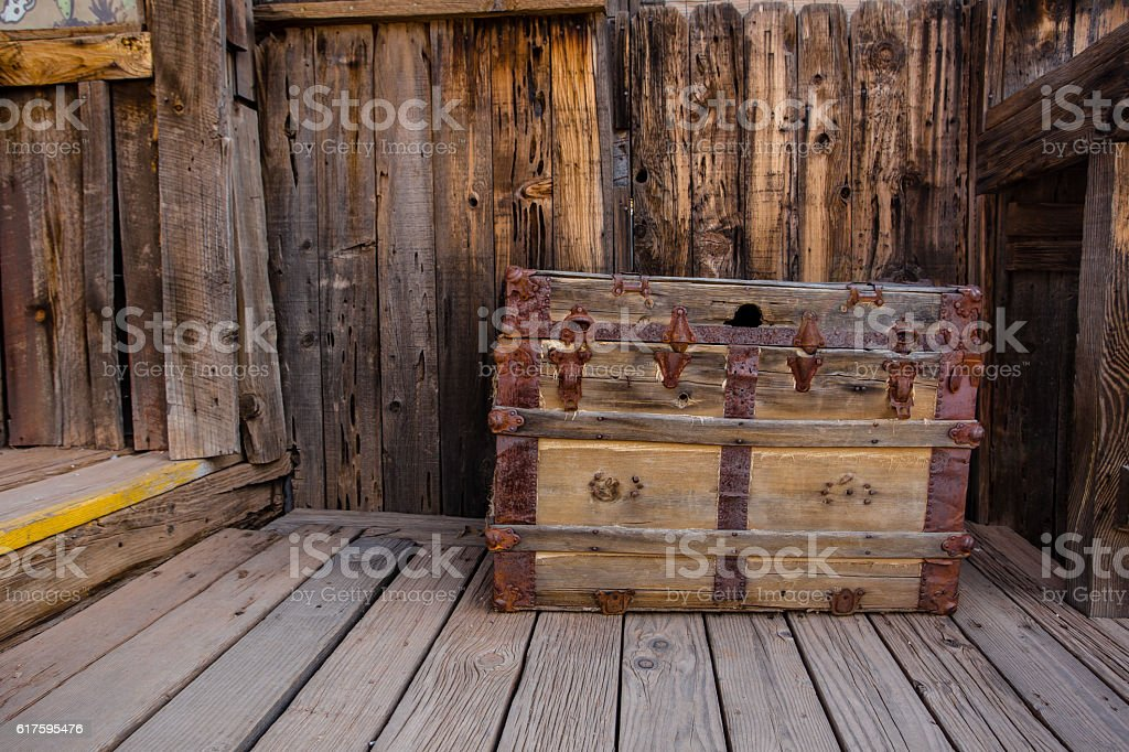 Old chest trunk stock photo