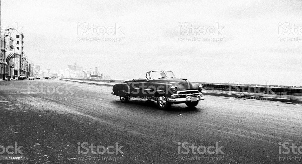 old chevy convertible on the Malecon in Havana stock photo