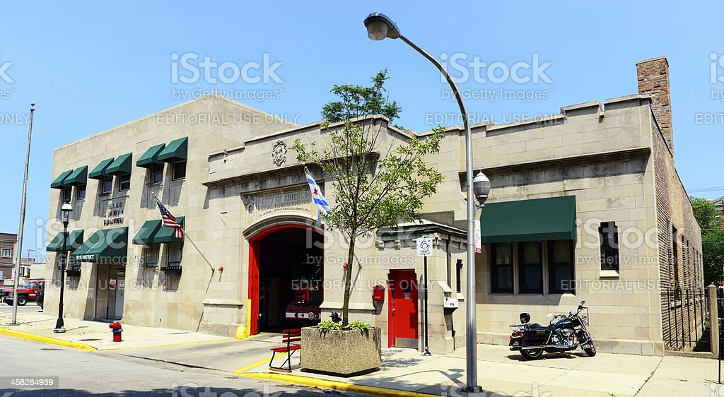 Old Chicago Firehouse and Police Station stock photo