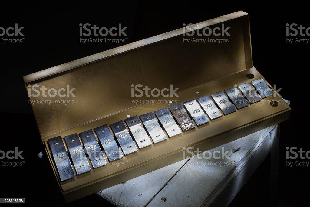old children glockenspiel stock photo
